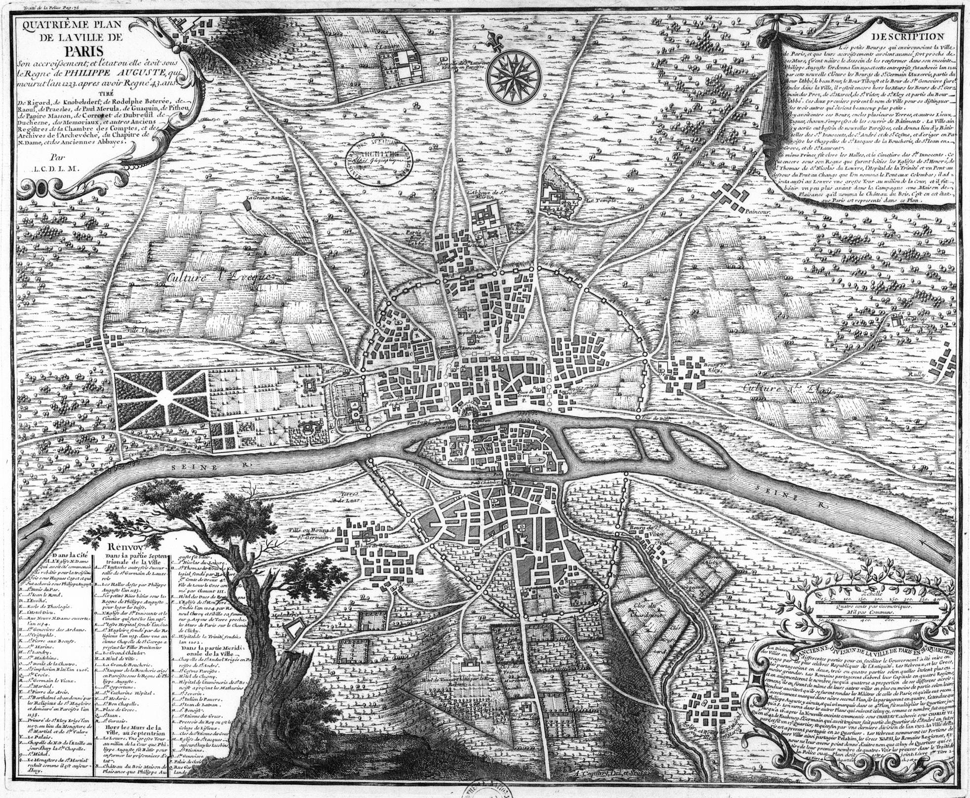paris mapa antiguo medieval